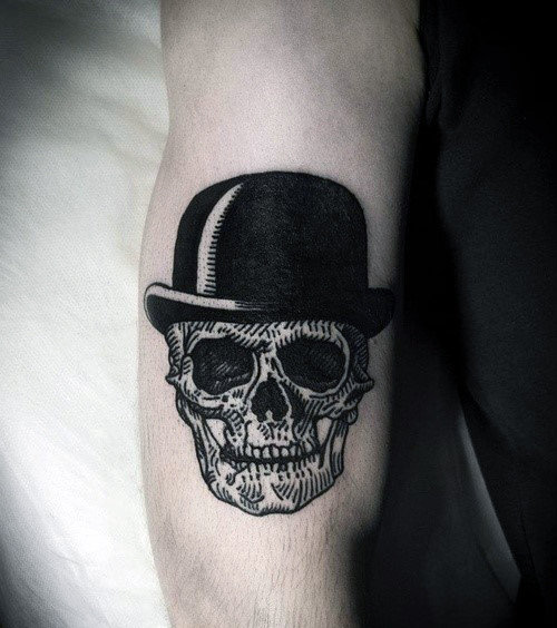 Skull With Top Hat Guys Woodcut Small Arm Tattoo