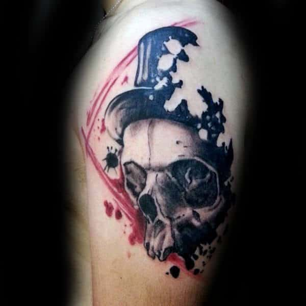 Skull With Top Hat Mens Trash Polka Upper Arm Tattoo