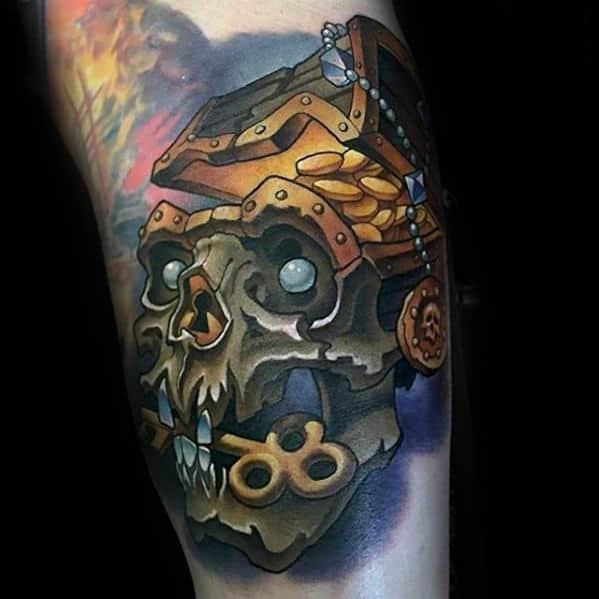 Skull With Treasure Chest Mens New School Arm Tattoos