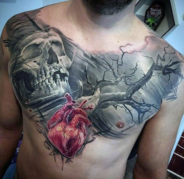Skull With Tree And Heart Mens 3d Chest Tattoo