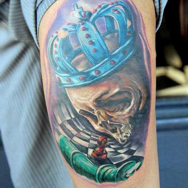 Skull With Turquoise Crown And Chessboard Tattoo Upperarms Male