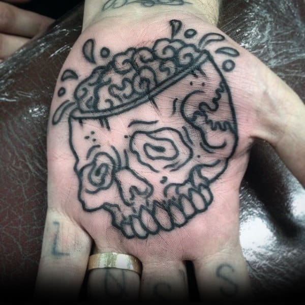 Skull With Visible Brain Tattoo Guys Palms