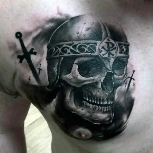 Skull With Warrior Helmet Chi Rho Upper Chest Watercolor Tattoo For Men