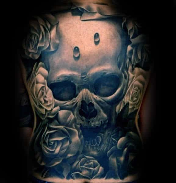 Skull With Water Droplets Mens Realistic Full Back Tattoos