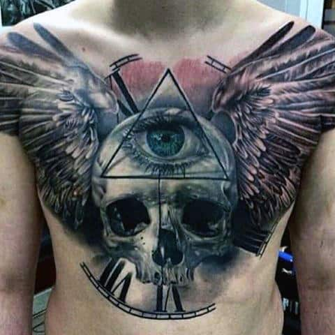 Skull With Wings And All Seeing Eye Masculine Guys Chest Tattoo Design Ideas