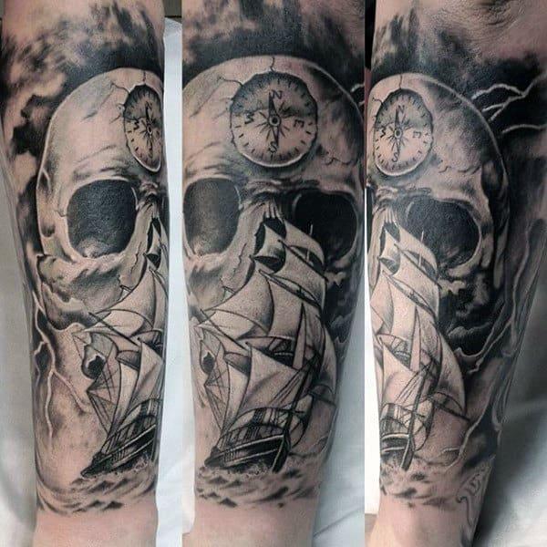 Skull Wrist Sailors Compass Mens Tattoo