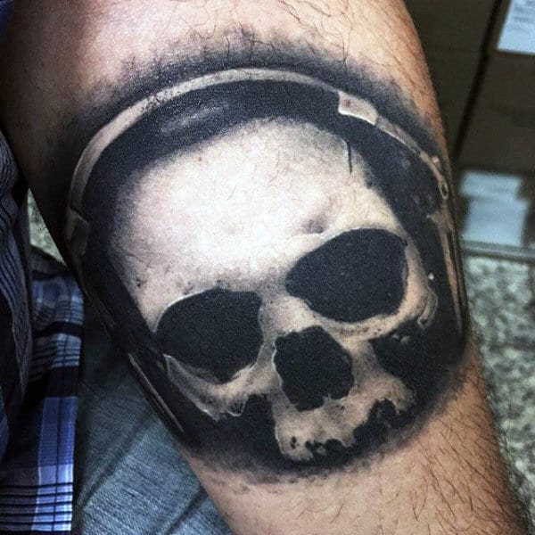 Skull Wth Headphones Tattoo On Arms For Males