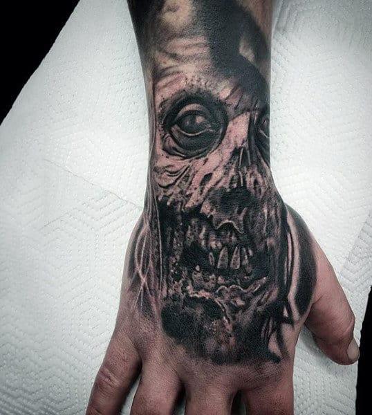Skull Zombie Hand Wrist Guys Tattoo Designs