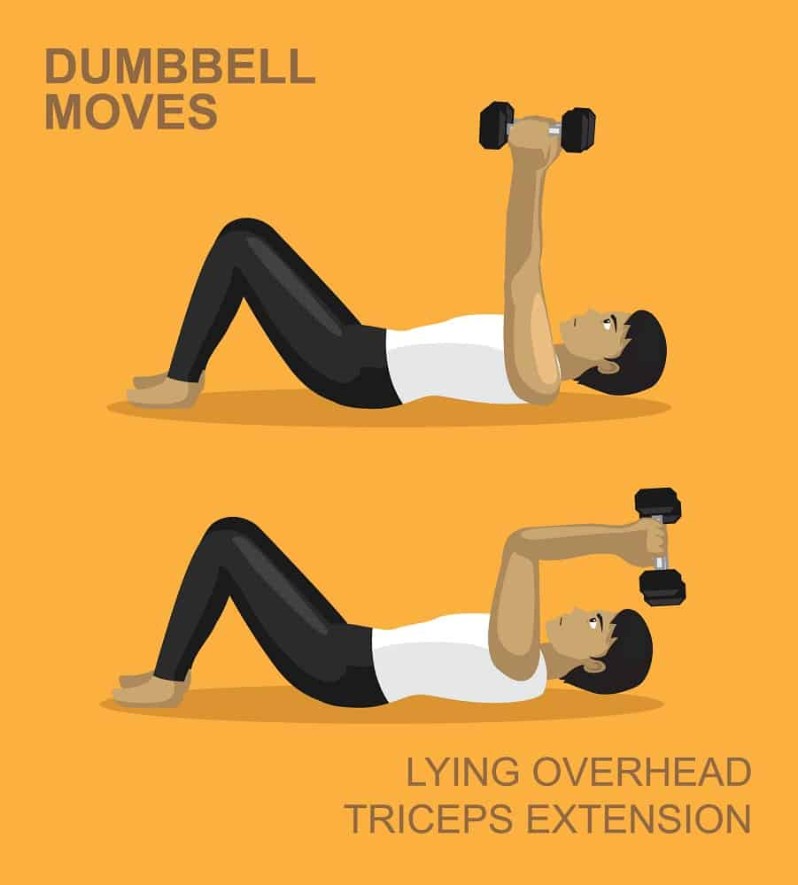 lying overhead triceps extension dumbbell moves gym illustration
