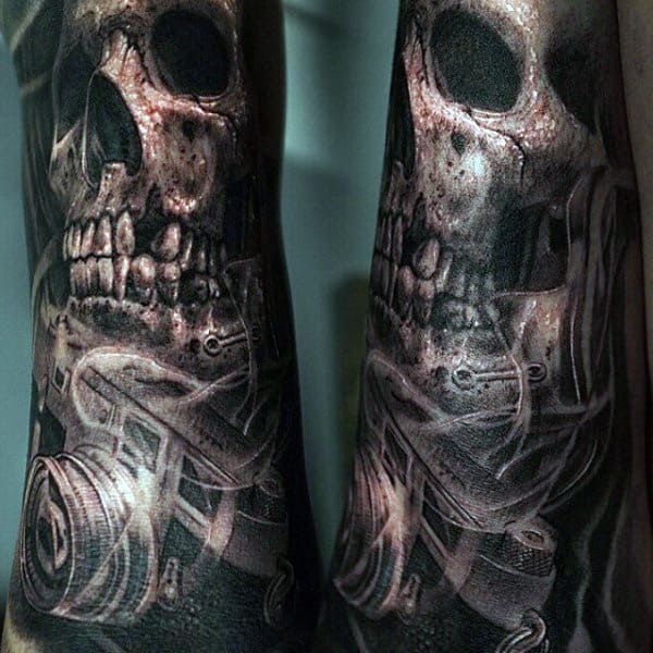 Skulls And Smoke Tattoos For Men