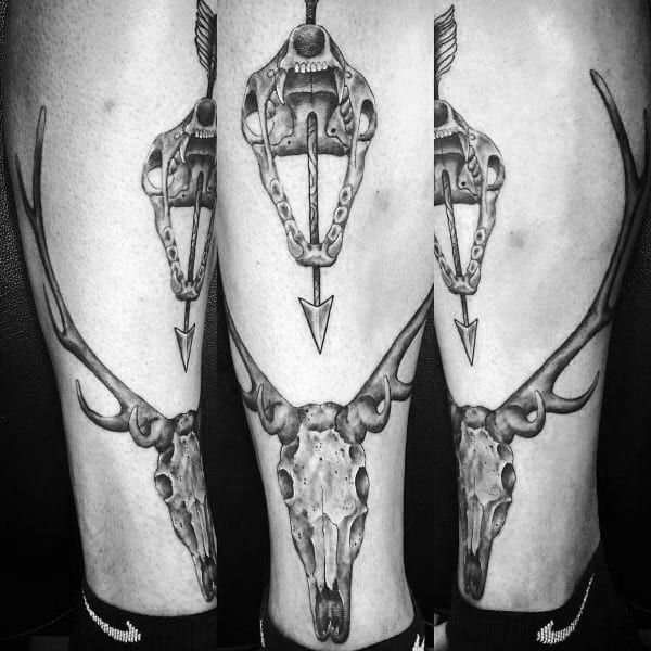 Skulls Bowhunting Leg Tattoo For Men