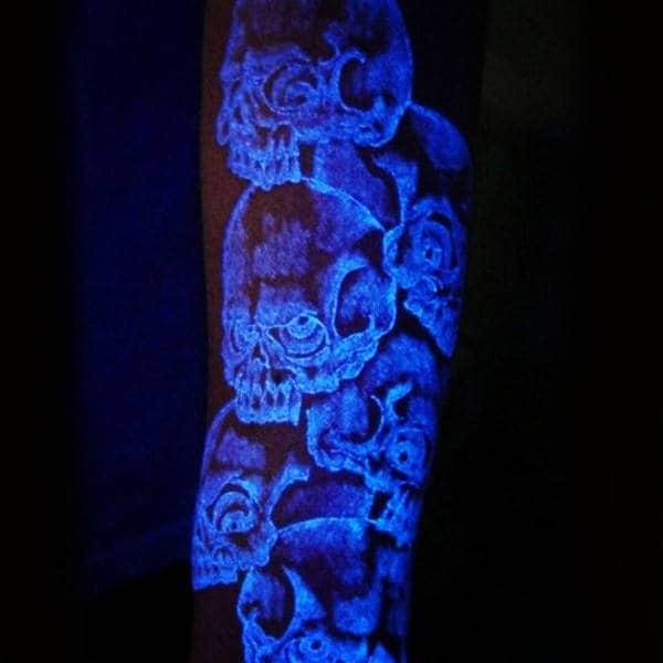 Skulls Glow In The Dark Male Arm Tattoo