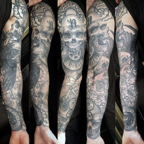 Skulls Guys Tattoo Sleeve With Mehcanical Gears