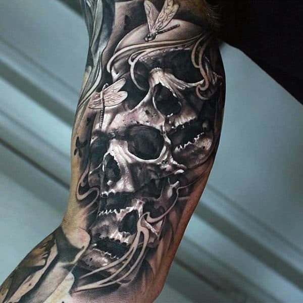 Skulls Inner Arm Tattoos For Gentlemen