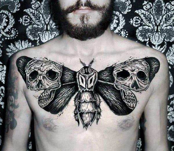 Skulls Moth Wings Mens Upper Chest Tattoos