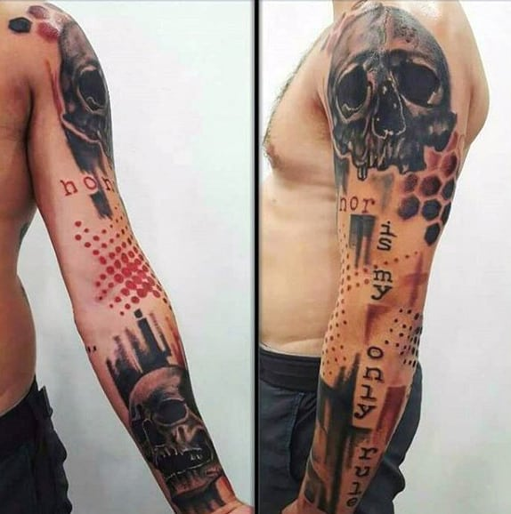 Skulls Trash Polka Abstract Male Arm Tattoo Ideas