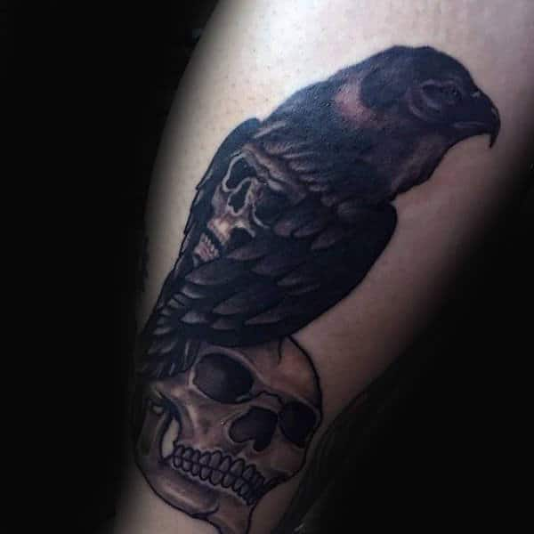 Skulls With Crow Leg Calf Guys Tattoo Ideas