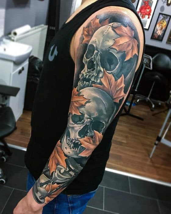 Skulls With Fall Leaves Mens Realistic 3d Full Arm Sleeve Tattoo