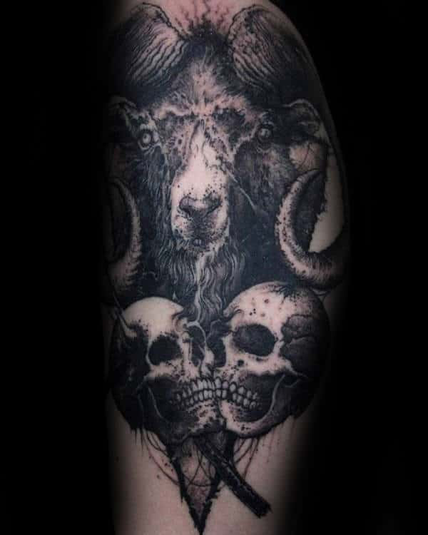 Skulls With Goat Mens Detailed Arm Tattoo Design Ideas