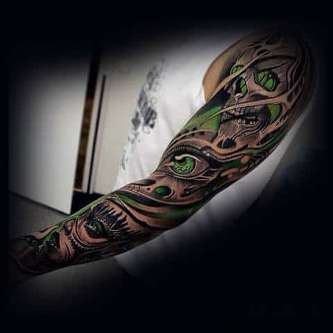 Skulls With Green Ink Insane Mens Full Sleeve Tattoos