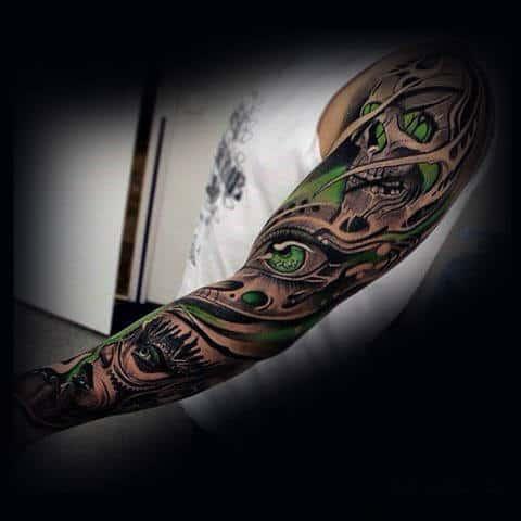 Skulls With Green Ink Insane Mens Full Sleeve Tattoos