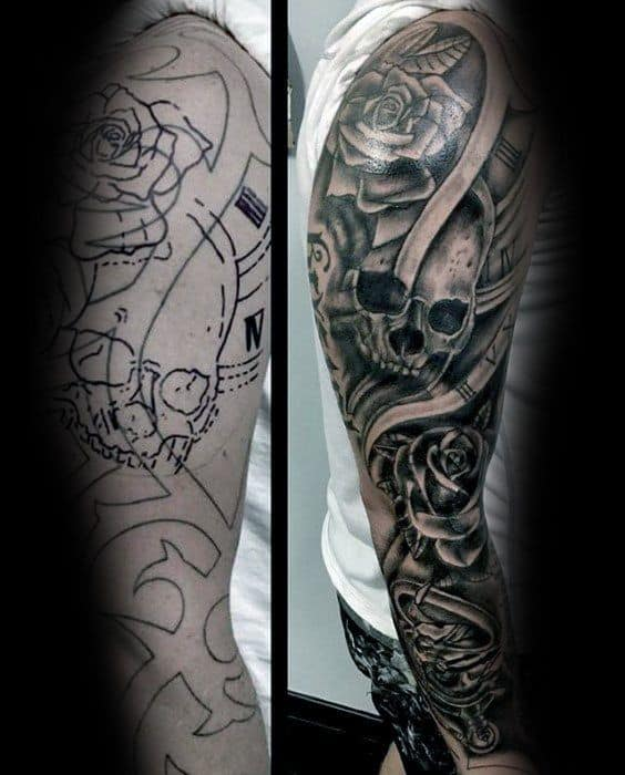 Skulls With Rose Flowers Mens Tattoo Cover Up Sleeve With Shaded Design