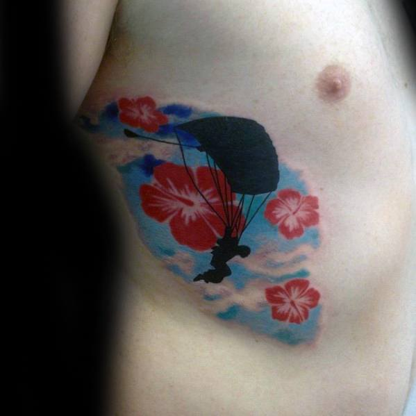 Sky Diving Tropical Flower Parachute Guys Rib Cage Side Tattoos