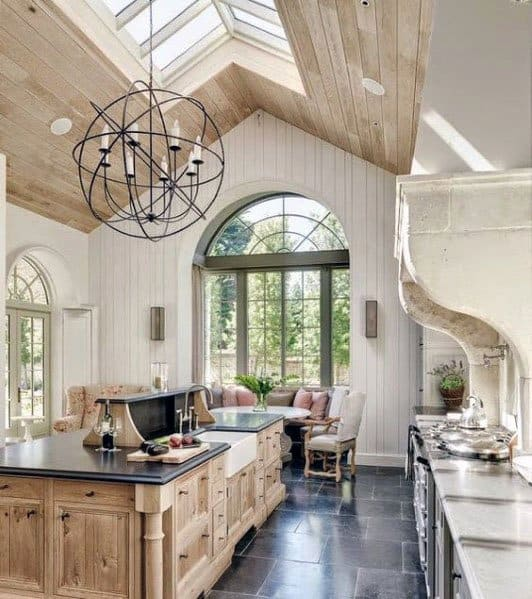 Skylights Vaulted Ceiling Wooden Ideas For Kitchen