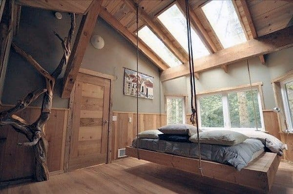 Skylights Wood Ceiling Hanging Bed Ideas