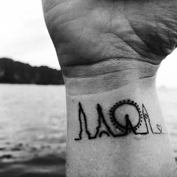 Skyline Of London Small Creative Mens City Wrist Tattoos