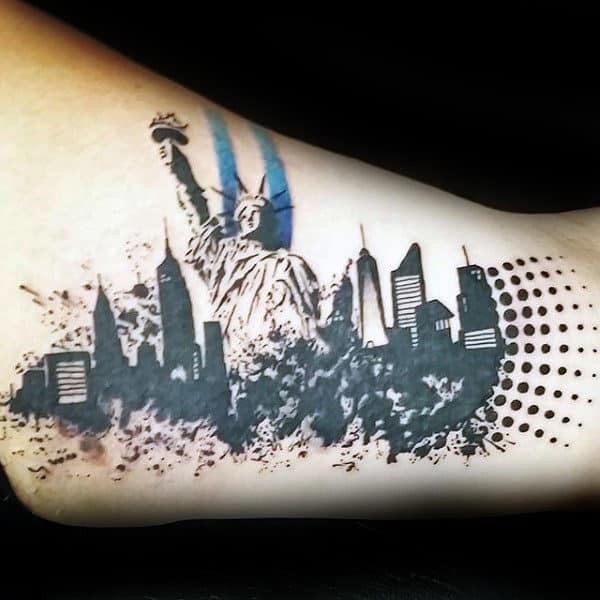 Skyline Statue Of Liberty Trash Polka Guys Inner Arm Tattoo