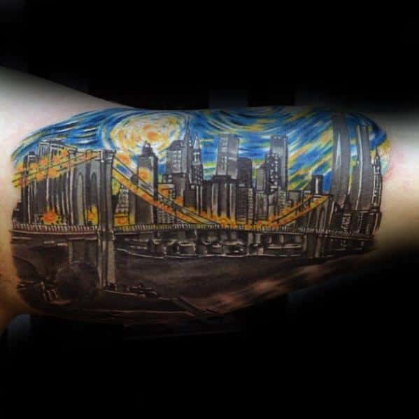 Skyline With Starry Night Unique Mens Bicep Inner Arm Tattoos