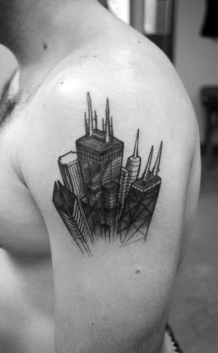 Skyscraper Sketched Mens Building Upper Arm Tattoos