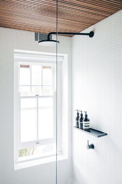 Slat Wood Ceiling In Bathroom