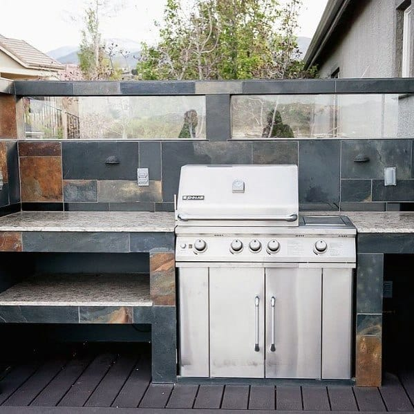 Slate Tile Design Ideas Built In Stainless Steel Grill