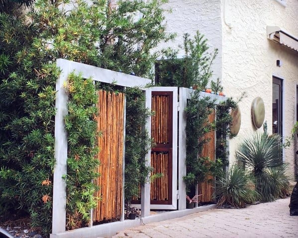 Sleek Bamboo Fence With Gate Ideas