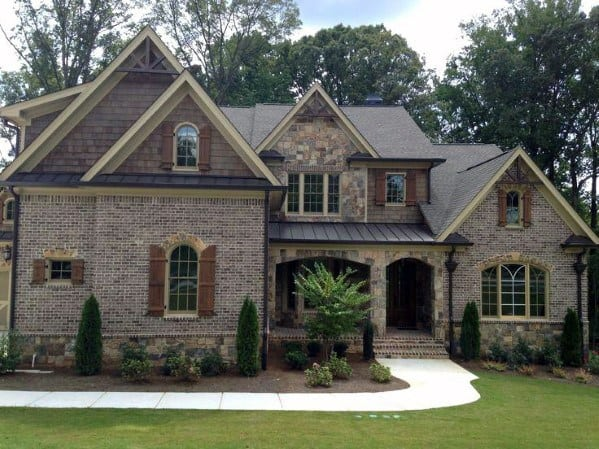 Sleek Brick And Stone Exterior Ideas