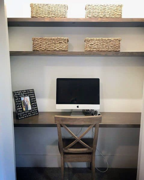 Sleek Closet Office Ideas Wood Shelving