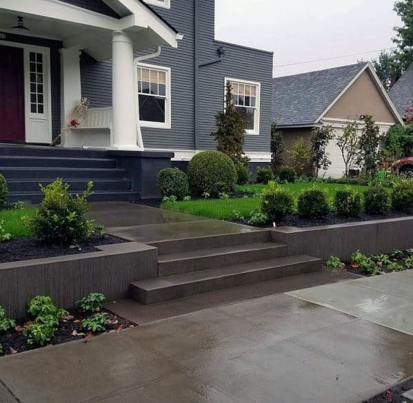 Sleek Concrete Walkway Ideas For Front Yards