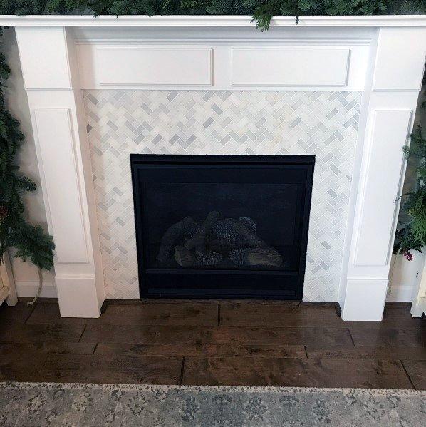 Sleek Fireplace Tile Herringbone Ideas