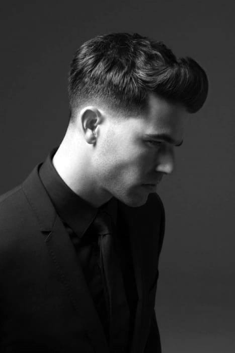 Sleek Front Flip Mens Low Fade Hair