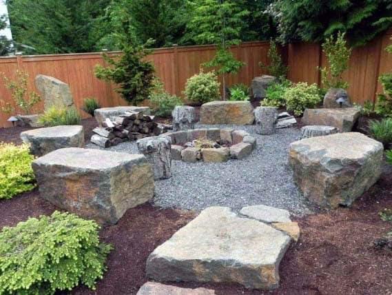 Sleek Gravel Landscaping Ideas For Backyard Fire Pit