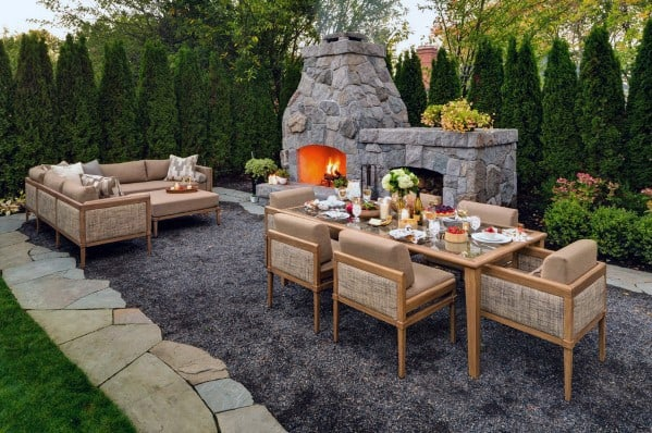 Sleek Gravel Patio Ideas Fireplace