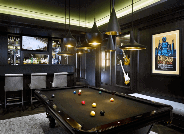 Sleek Man Cave Black Billiards Room Ideas With Multiple Pendant Ceiling Lights