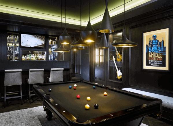 Sleek Man Cave Black Billiards Room Ideas With Multiple Pendant Ceiling Lights