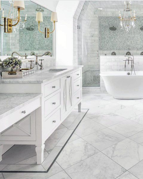 Sleek Marble Bathroom Floors And Shower Ideas