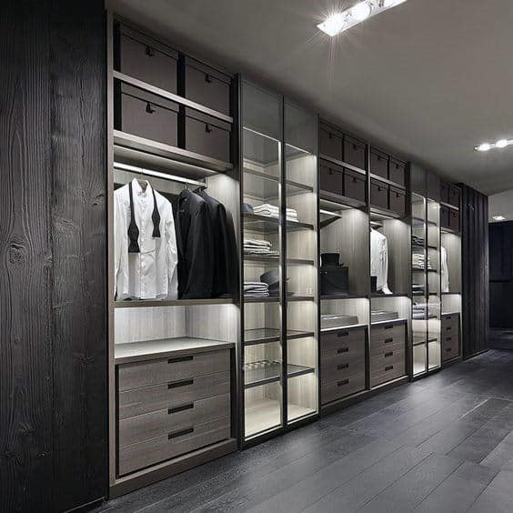 Sleek Modern Dark Wood Closet Ideas For Bachelor Pads