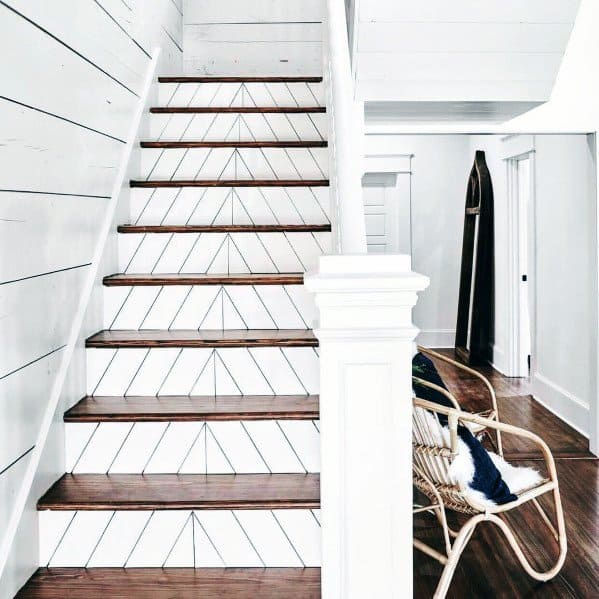 Sleek Painted White Chevon Wood Pattern Stairs Ideas