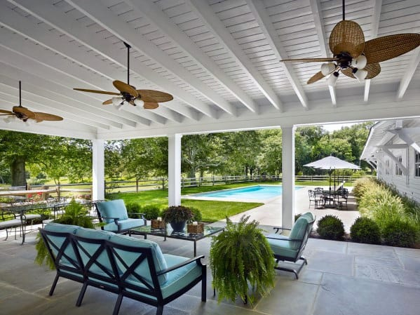 Sleek Patio Roof Ideas White Painted Wood Ceiling Design