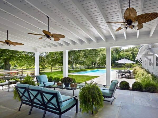 Sleek Patio Roof Ideas White Painted Wood Ceiling Design